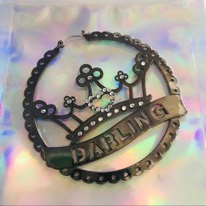 princess darling crown hoop earrings Betsey j